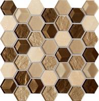 Настенная мозаика Drops stone brown hex 300 x 298 mm