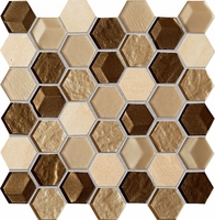 Настенная мозаика Drops stone brown hex 300 x 298 mm
