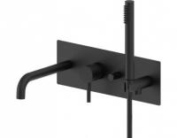 Встраиваемый смеситель для ванны с душем (черный матовый) Paffoni Light LIG001NO