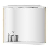 Зеркало Ravak M780 78x68 L с полкой, подсветкой и розеткой, береза/белый